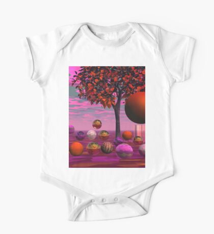 Bittersweet Opinion, Abstract Copper Raspberry Maple Tree One Piece - Short Sleeve