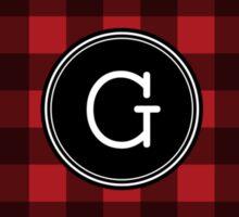 Monogram Letter G with buffalo plaid Sticker