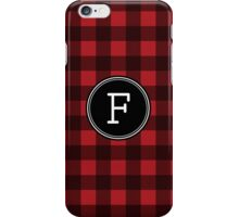 Monogram Letter F with buffalo plaid iPhone Case/Skin