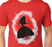 Super Smash Bros. White/Red Fire Peach Silhouette Unisex T-Shirt