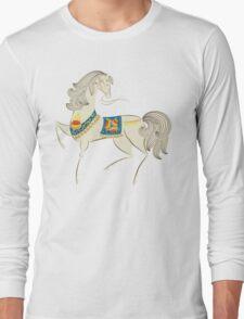 Dancing Horse in White Long Sleeve T-Shirt