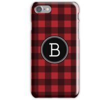Monogram Letter B with buffalo plaid iPhone Case/Skin