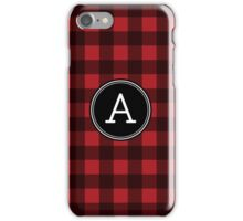 Monogram Letter A with buffalo plaid iPhone Case/Skin