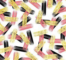 Elegant Pink, Black, and Gold Brushstroke Pattern by Blkstrawberry