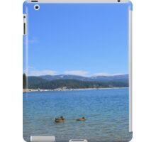 Beautiful landscape picture of blue sky, sand beach, ducks, lake, mountain and trees. iPad Case/Skin