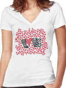 Freehand Sketch Love Letter Women's Fitted V-Neck T-Shirt