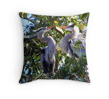 Nesting Great Blue Herons Throw Pillow
