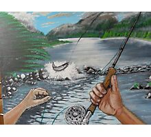 catching a salmon Photographic Print