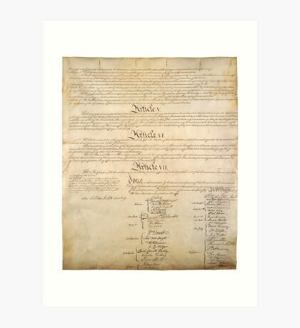 Original Signature Page of the United States Constitution Page 4 of 4 Art Print