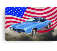 1967 Buick Riviera With United States Flag Canvas Print