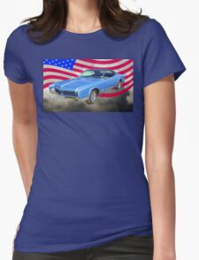 1967 Buick Riviera With United States Flag Womens Fitted T-Shirt