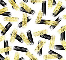 Elegant Black and Gold Brushstroke Pattern by Blkstrawberry