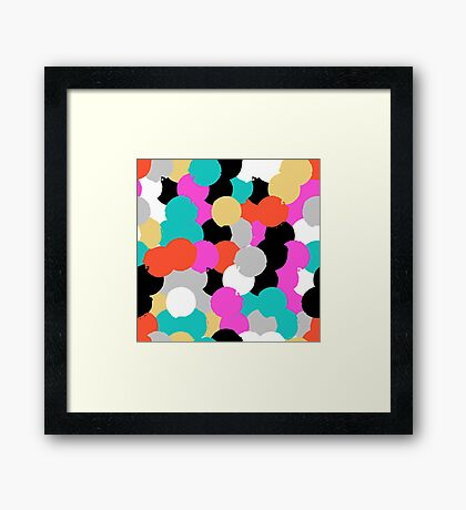 Big overlapping circles in pink grey colors Framed Print