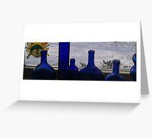 Ten Blue Bottles sitting......... Greeting Card