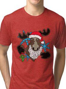 Mistletoe moose  Tri-blend T-Shirt