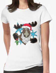 Mistletoe moose  Womens Fitted T-Shirt