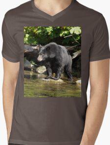 """""""Salmon Spotting"""" Black Bear T-Shirt"""