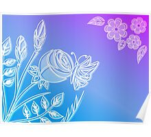 Blooming flower and butterfly. Poster
