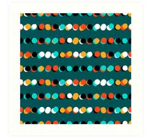 Lines of colorful dots on jade green Art Print