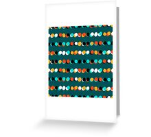 Lines of colorful dots on jade green Greeting Card