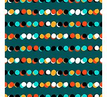 Lines of colorful dots on jade green Photographic Print