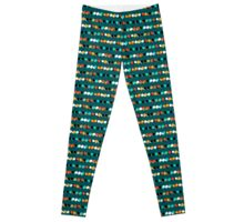Lines of colorful dots on jade green Leggings