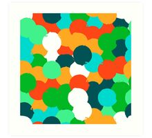 Big overlapping circles in green colors Art Print