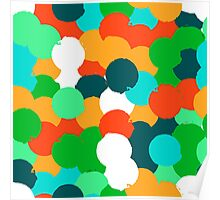 Big overlapping circles in green colors Poster