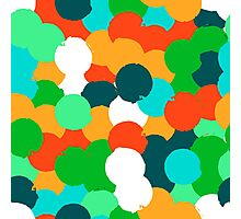 Big overlapping circles in green colors Photographic Print