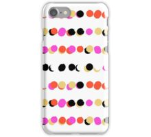 Lines of colorful dots in pink on white green iPhone Case/Skin