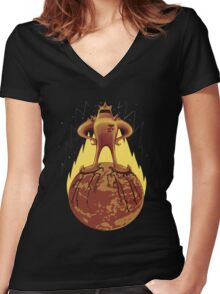 Starman Own Earth Women's Fitted V-Neck T-Shirt