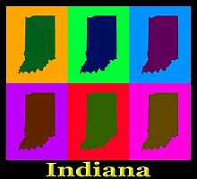 Colorful Indiana State Pop Art Map by KWJphotoart