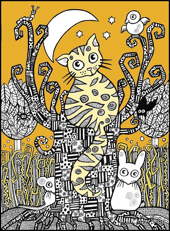 Golden Moon Kitty by Anita Inverarity