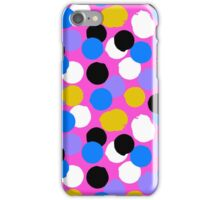 Polka dot print in pink, blue, white, black, yellow colors iPhone Case/Skin