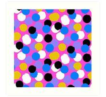 Polka dot print in pink, blue, white, black, yellow colors Art Print