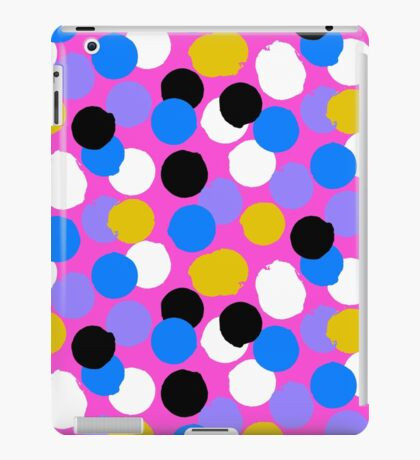 Polka dot print in pink, blue, white, black, yellow colors iPad Case/Skin