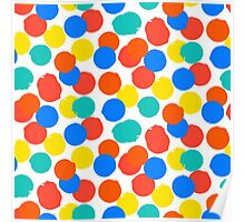 Polka dot print in bright red yellow blue colors Poster