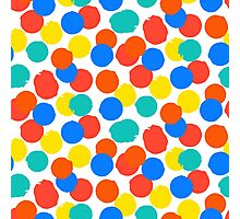 Polka dot print in bright red yellow blue colors Photographic Print