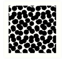 Hand painted polka dot print in black and white colors Art Print