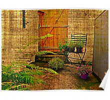 Herbs On Black Wrought Iron Chair Poster