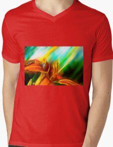 Abstract Orange Tiger Lily Digital Art Mens V-Neck T-Shirt