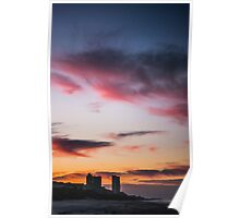 City Buildings at Sunrise Poster