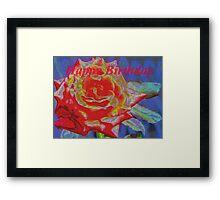 Peachy orange birthday rose Framed Print