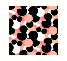 Hand painted polka dot print in black, white and pink colors Art Print