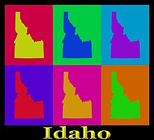 Colorful Idaho State Pop Art Map by KWJphotoart