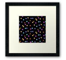 Ditsy colorful polka dot pattern on black Framed Print