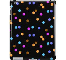 Ditsy colorful polka dot pattern on black iPad Case/Skin
