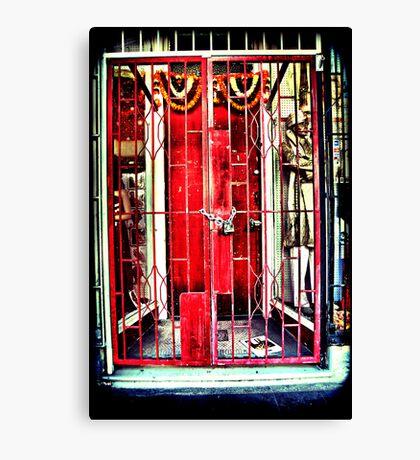 Red gates. Lomography Canvas Print