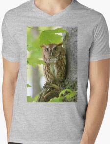 Red Screech Owl Mens V-Neck T-Shirt