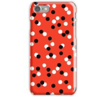 Ditsy colorful polka dot pattern in red, white and black iPhone Case/Skin